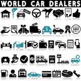 Icônes de concessionnaire automobile réglées illustration de vecteur
