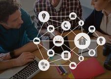Icônes de connexion sur le fond de réunion Photos stock