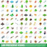 100 icônes de conserve réglées, style 3d isométrique Image libre de droits