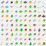 100 icônes de conserve réglées, style 3d isométrique Photos stock