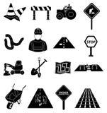 Icônes de construction de routes réglées illustration de vecteur