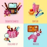 Icônes de cosmétiques réglées Images stock