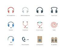 Icônes de couleur d'écouteurs sur le fond blanc Photos libres de droits