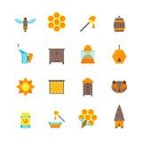 Icônes de couleur d'abeille de bande dessinée réglées Vecteur Images stock