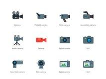 Icônes de couleur d'appareil-photo sur le fond blanc Photo stock