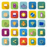 Icônes de couleur d'ordinateur avec la longue ombre Images stock
