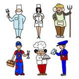 Icônes de couleur de bande dessinée de professions réglées Photos libres de droits
