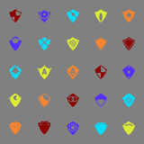 Icônes de couleur de bouclier de conception sur le fond gris Image stock