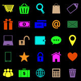 Icônes de couleur de commerce électronique sur le fond noir Photos libres de droits