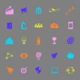 Icônes de couleur de jeune entreprise sur le fond gris Photographie stock