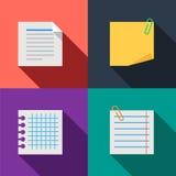 Icônes de couleur réglées par notes de papier blanc Images stock