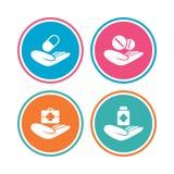 Icônes de coups de main Assurance médicale maladie médicale Photos stock