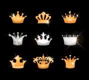 Icônes de couronnes d'or et d'argent réglées Photos stock
