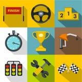 Icônes de course de machine réglées, style plat Photographie stock libre de droits