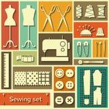 Icônes de couture plate de vecteur réglées Photographie stock libre de droits