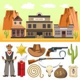 Icônes de cowboy réglées et scène occidentale sauvage avec le crâne de dynamite et ho Photo stock