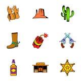 Icônes de cowboy réglées, style de bande dessinée Image libre de droits