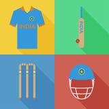 Icônes de cricket d'Inde Image libre de droits