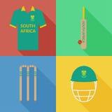 Icônes de cricket de l'Afrique du Sud Images stock