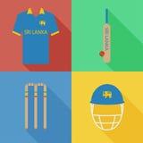 Icônes de cricket de Sri Lanka Photographie stock libre de droits
