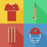 Icônes de cricket des Antilles Image libre de droits