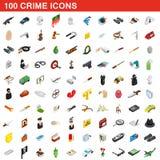 100 icônes de crime réglées, style 3d isométrique Photographie stock libre de droits