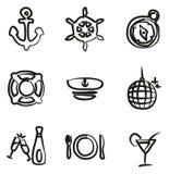 Icônes de croisière de bateau à main levée Photo stock