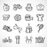 Icônes de croquis de forme physique réglées Photographie stock