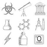 Icônes de croquis de la Science et de chimie réglées Image libre de droits