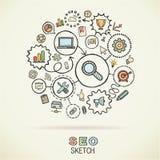 Icônes de croquis reliées par aspiration de main de SEO Images stock