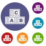 Icônes de cubes en ABC réglées Photos stock