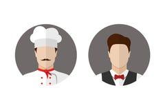 Icônes de cuisinier et de serveur Photos stock