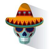 Icônes de culture du Mexique dans le style plat de conception, illustration de vecteur Photographie stock