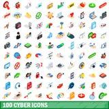 100 icônes de cyber réglées, style 3d isométrique Photo libre de droits