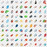 100 icônes de cyber réglées, style 3d isométrique Photo stock