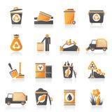 Icônes de déchets et de déchets Photographie stock libre de droits