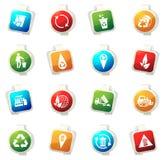 Icônes de déchets réglées Photographie stock libre de droits