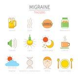 Icônes de déclencheurs de migraine réglées Photo stock