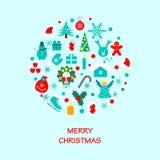 Icônes de décorations de Noël Image libre de droits