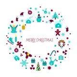 Icônes de décorations de Noël Guirlande décorative de Noël Photographie stock libre de droits