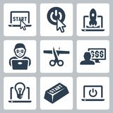 Icônes de démarrage et de vecteur Photos libres de droits