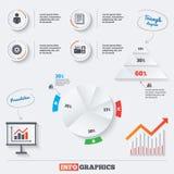 Icônes de déroulement des opérations de comptabilité Documents humains Image libre de droits