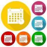 Icônes de dates-butoirs de réunion réglées avec la longue ombre Images libres de droits