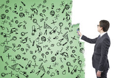 Icônes de ½ de ¿ de scientifiï de peinture d'homme d'affaires Photo libre de droits