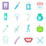 Icônes de dentiste réglées, style de bande dessinée Photos stock
