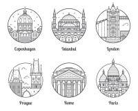 Icônes de destinations de voyage de l'Europe illustration de vecteur