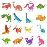 Icônes de dinosaure réglées, style de bande dessinée Photographie stock