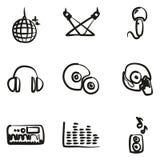 Icônes de disco ou de club à main levée Photos libres de droits