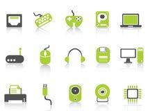 Icônes de dispositif d'ordinateur réglées, série verte Image stock