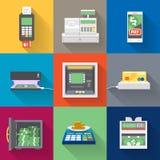 Icônes de distributeurs automatiques de billets réglées dans le style plat Photographie stock libre de droits